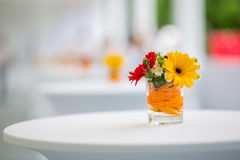 Table decoration with flowers Stock Photo