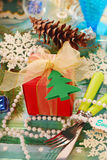 Table decoration with gift for christmas Royalty Free Stock Photography