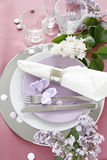 Table Decoration In Lilac Royalty Free Stock Image