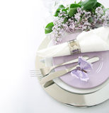Table decoration in lilac Royalty Free Stock Photography