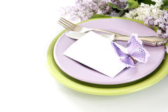 Table decoration in lilac Royalty Free Stock Images