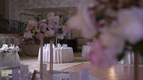 Table decoration at the party. Event in restaurant stock video footage