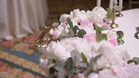 Table decoration at the party. Event in restaurant stock footage