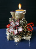 Table decoration. Of pinecone and gourd royalty free stock photography