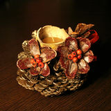 Table decoration of pinecone. And gourd 2 royalty free stock image