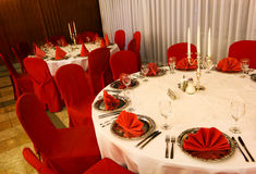 Table decoration in red Stock Images