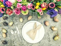 Table decoration spring flowers Easter eggs Vintage style Royalty Free Stock Images