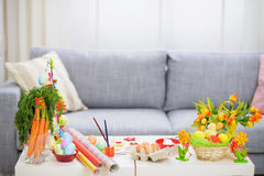 Table with decoration stuff Royalty Free Stock Photo