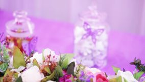 Table decoration with sweets stock footage
