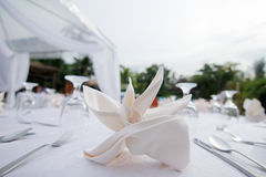 Table decoration for wedding. Wedding table decoration in a beach Stock Photos