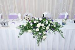 Table decoration at wedding reception Stock Photos