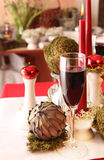 Table decoration in white, green and red Stock Photo