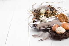 Table decoration on white wooden background Royalty Free Stock Photography