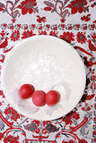 Table decoration on white wooden background with quail eggs Stock Photos