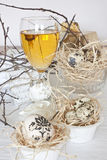 Table decoration with wine Stock Photo