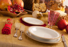 Table with decorations for Christmas dinner Royalty Free Stock Photography