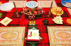 A table of decorations for christmas. In a house in connecticut united states Royalty Free Stock Photography