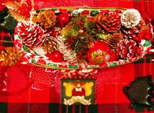 A table of decorations for christmas. In a house in connecticut united states Stock Photos
