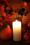 Table decorations for Halloween carved pumpkin head candles Stock Image