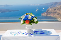 Table and decorations for the wedding ceremony Stock Images