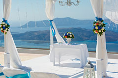 Table and decorations for the wedding ceremony Stock Photography