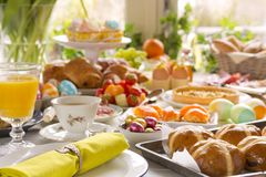 Table with delicatessen ready for Easter brunch Royalty Free Stock Image