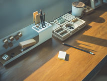 Table desk with stationary office work space Studio Stock Photo