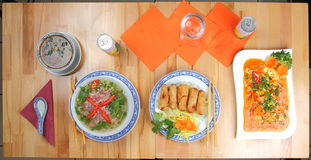 Table with different asian meals Stock Images