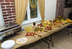 Table with different food in Russia stock photography