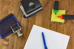On the table are different office supplies. Different office supplies are on the table royalty free stock images
