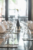 Table dining set in the hotel restaurant Stock Photo