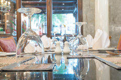 Table dining set in the hotel restaurant Stock Photography