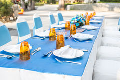 Table dining set at outside of the hotel Stock Image