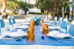 Table dining set at outside of the hotel Royalty Free Stock Image