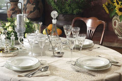 Table for dinner. Table for elegant dinner withTable complements Stock Photography