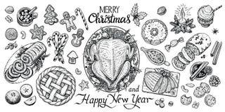 Table dinning de Noël, illustration de vecteur Nourriture d'hiver et vue supérieure de boissons Photos stock