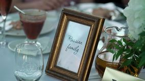 Table dishes decoration stock footage