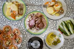 A table with dishes of Russian cuisine stock photography