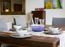 Table with dishes Royalty Free Stock Images