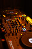 Table for DJ. In the work. Vertical Royalty Free Stock Image