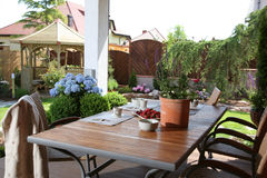 Table in domestic garden Stock Photos