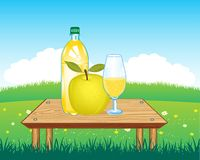 Table with drink on nature Royalty Free Stock Images