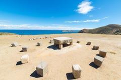 Table du sacrifice de l'Inca sur l'île du Sun, Bolivie image libre de droits