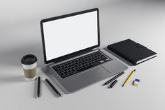 Table with emtpy laptop stock illustration
