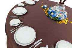 Table with empty plates Stock Photography