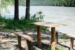 Table en bois avec deux bancs dans une forêt d'été Photographie stock