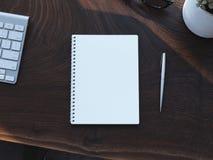 Table en bois avec différents accessoires de bureau rendu 3d Images stock