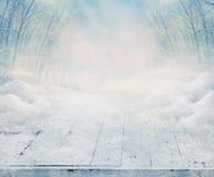 Table en bois congelée Images libres de droits