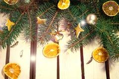 Table en bois décorée pendant la nouvelle année Images libres de droits