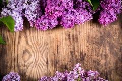 Table en bois de brun foncé avec le cadre sur le groupe de fleurs lilas photos stock